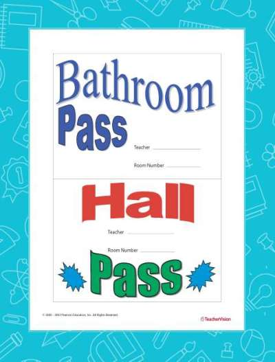 Hall Pass and Bathroom Pass Printable