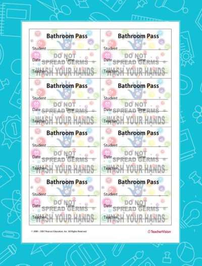 8 Bathroom Passes per Sheet