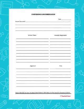 This is a picture of Printable Parent Teacher Conference Forms within 2nd grade