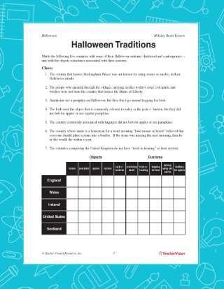 Printable Halloween Traditions Activities