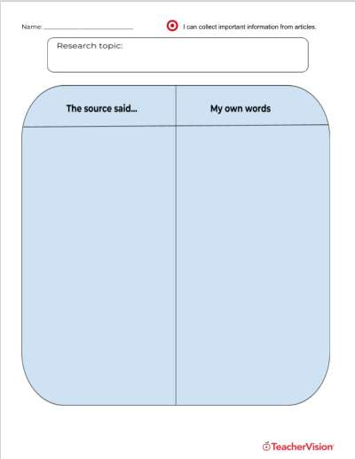 A graphic organizer for analyzing evidence for a research paper