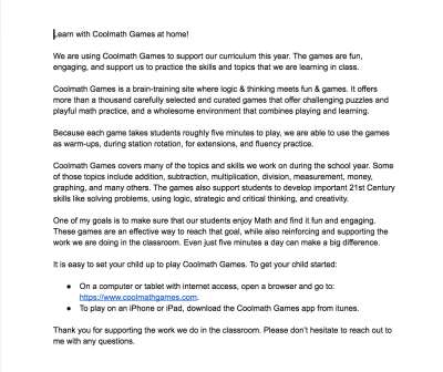 A letter to parents about using Coolmath Games at home