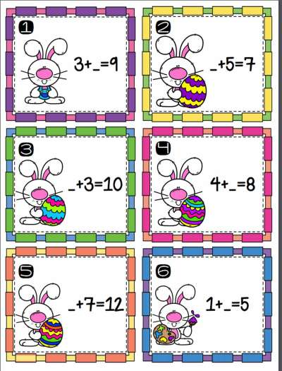 Easter Addition Scoot with 18 addition problems