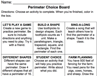 Perimeter Choice Board