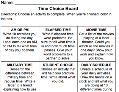 Time Choice Board Printable