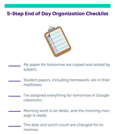 Organization Checklist for Teachers