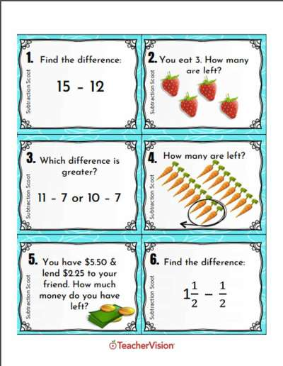 An interactive subtraction activity
