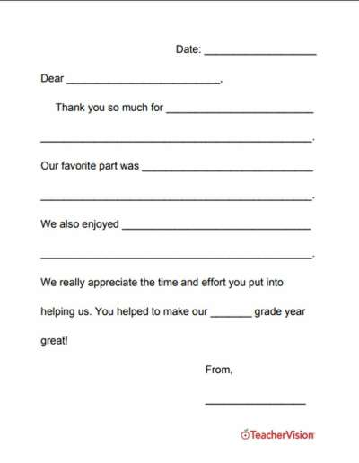 a template for writing thank you letters