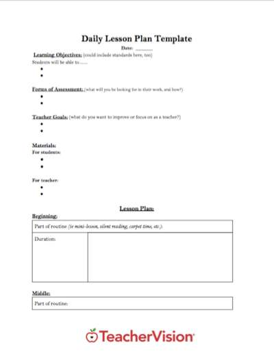 A template for planning daily lessons