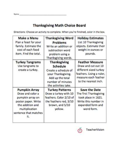 A choice board with nine Math activities about Thanksgiving