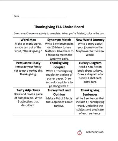 An ELA Thanksgiving themed choice board