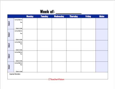 A weekly lesson planning template