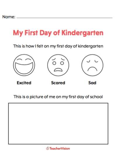 A handout for kindergartners to identify how they feel on the first day of school.