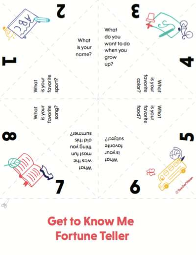 A getting to know you activity for students