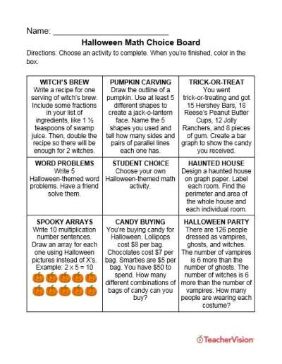 Halloween activity choice board for elementary and middle grade math