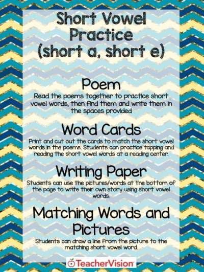 Short a and Short e Practice Activity Packet