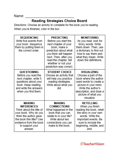 Help students practice reading strategies with these activities