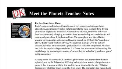 meet the planets teacher notes worksheet