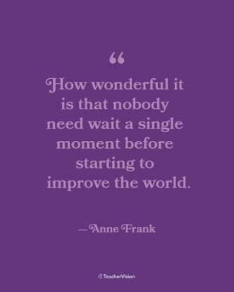 Anne Frank Women's History Month Inspirational Classroom Poster