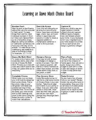 Learning at Home Math Choice Board