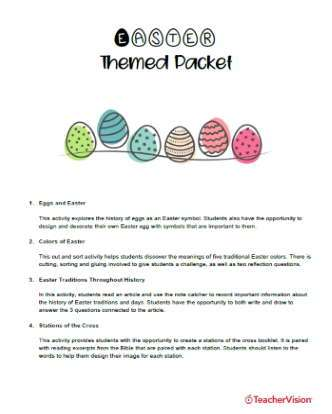 Easter Activities Themed Packet (Elementary)