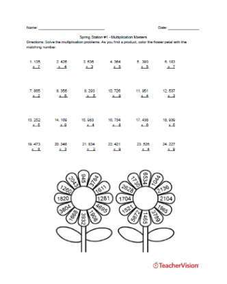 Spring Themed Math Station Rotations for Elementary Classrooms