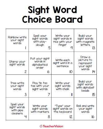 Sight Words Choice Board and Activities Packet (Grades K-3)
