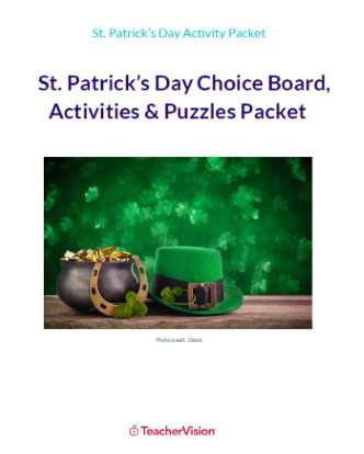 St. Patrick's Day Choice Board, Activities, and Puzzles Packet
