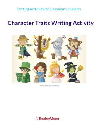 Character Traits Writing Activity Packet