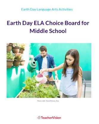 Earth Day ELA Choice Board for Middle School