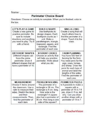 Perimeter Choice Board