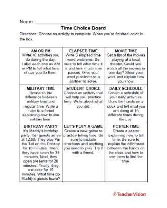 Time Choice Board Printable