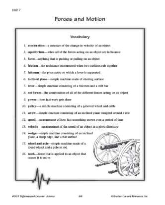 Forces and Motion Vocabulary Crossword Worksheet for 5th Grade Science