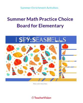 Summer Math Practice Choice Board for Elementary Grades