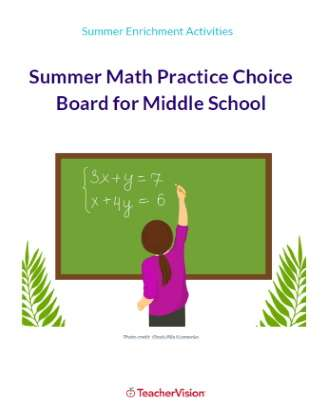 Summer Math Practice Choice Board for Middle School