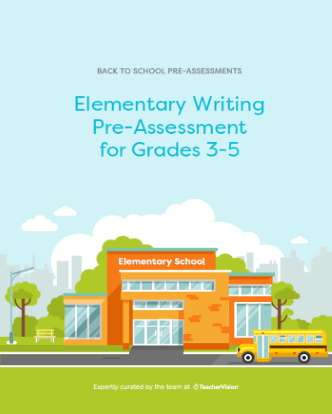 Elementary Writing Diagnostic Pre-Assessment for Grade 3 to Grade 5