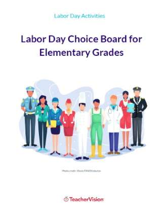 Labor Day Choice Board for Elementary Grades