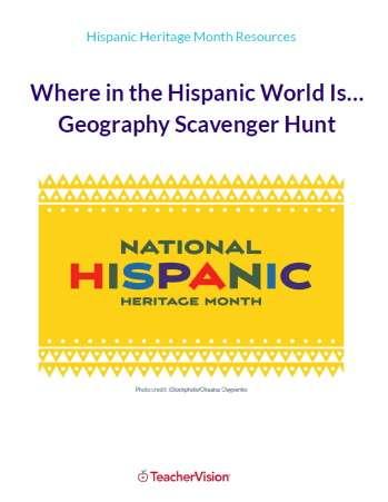 Hispanic Heritage Month Geography Scavenger Hunt Activity