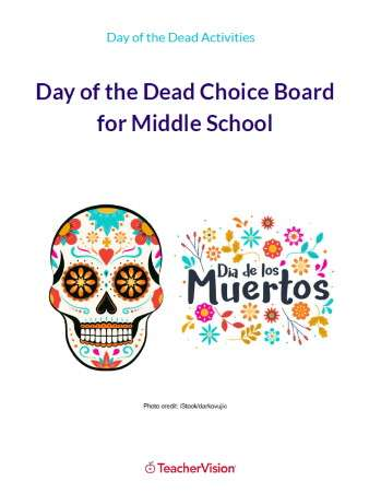 Day of the Dead Choice Board for Middle School