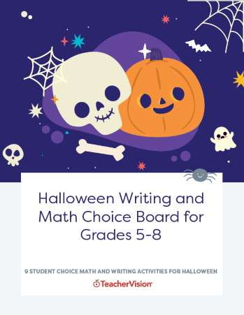 Halloween Writing and Math Choice Board for Grades 5-8