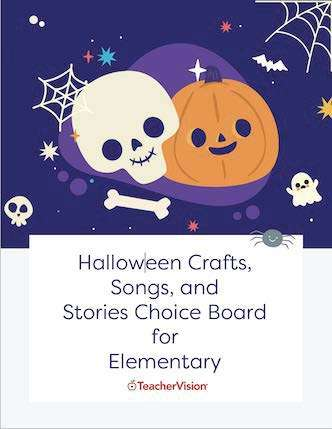 Halloween Crafts, Songs, and Stories Choice Board for Elementary