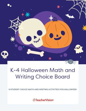 Halloween Math and Writing Choice Board for Grades K to 4