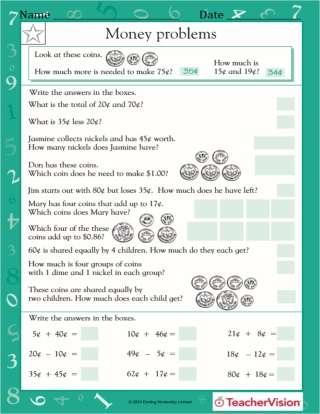 2nd Grade Money Math Problems from TeacherVision
