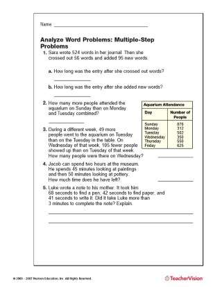 Multi-Step Addition and Subtraction World Problems for 4th Grade Math