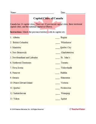 Capital Cities of Canada Matching Activity