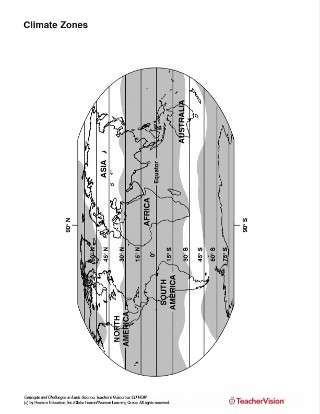 Earth's Climate Zones Map for Earth Science Activities