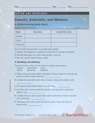 Comets Asteroids and Meteors Review Sheet