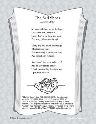 Sad Shoes Poetry Activity for Main Idea and Supporting Details