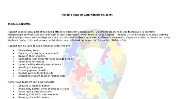Building Rapport with Autistic Students: Tips for General Educators