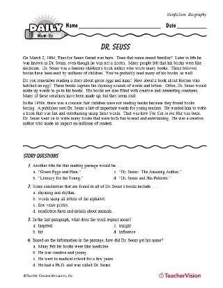 Dr. Seuss Reading Warm-Up